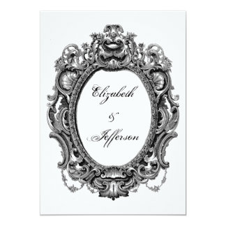 Black Vintage Frame Wedding Invitations