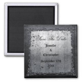 Black Vintage Gothic Save The Date Wedding Fridge Magnet