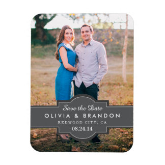 Black Vintage Label Wedding Save the Date Magnet