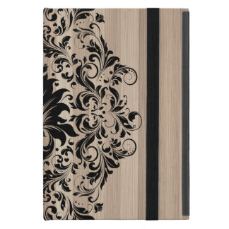 Black Vintage Lace Over Blond Wood Texture Cover For iPad Mini
