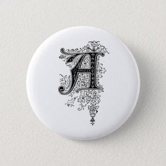 Black Vintage Monogram A Floral Swirls Pinback Button