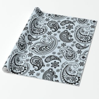 Black Vintage Paisley Light Blue background