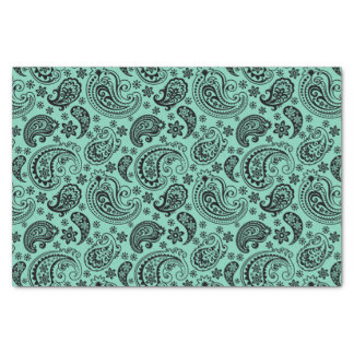 Black Vintage Paisley Over Mint-Green Background Tissue Paper