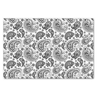 "Black Vintage Paisley Over White Background 10"" X 15"" Tissue Paper"