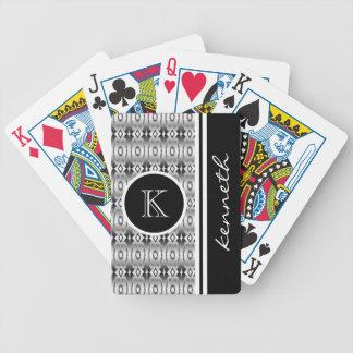 Black Vintage Pattern Monogram Initial Name Custom Bicycle Playing Cards