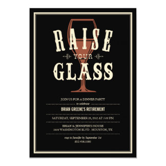 "Black Vintage Raise Your Glass Party Invitations 5"" X 7"" Invitation Card"