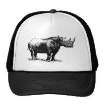 Black Vintage Rhinoceros Line Art Trucker Hat