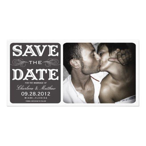 BLACK VINTAGE    SAVE THE DATE ANNOUNCEMENT PHOTO CARD