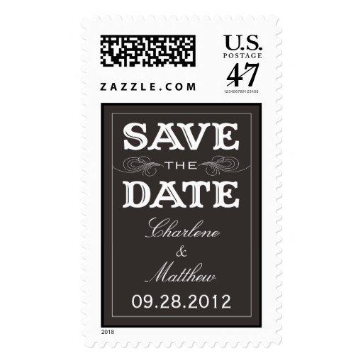 BLACK VINTAGE | SAVE THE DATE POSTAGE
