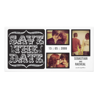 Black Vintage Save the Date Typography Photo Card
