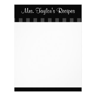 Black Vintage Stripes Recipe Cards Letterhead