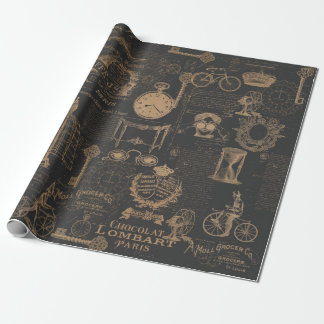 Black Vintage Style Wrapping Paper