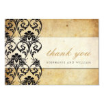 Black Vintage Swirl Wedding Thank You Card