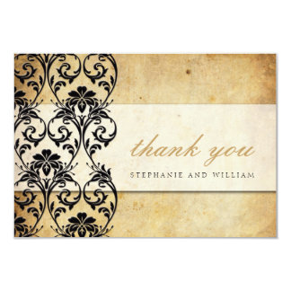 Black Vintage Swirl Wedding Thank You Card