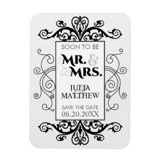 Black Vintage Swirls Save The Date Wedding Rectangular Photo Magnet