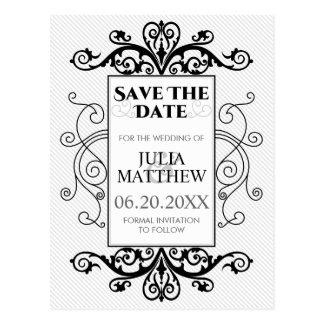 Black Vintage Swirls Wedding Save The Date Postcards