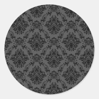 Black Vintage Wallpaper Classic Round Sticker