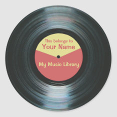 Black Vinyl Music Library Record Label Stickers at Zazzle