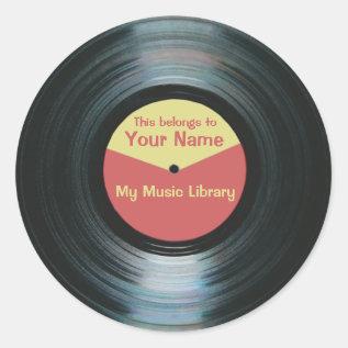 Black Vinyl Music Library Record Label Stickers at Zazzle