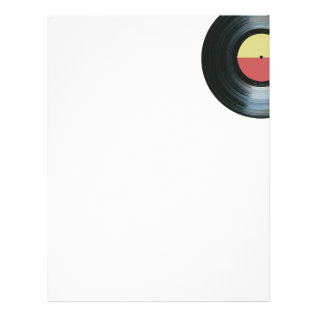 Black Vinyl Music Record Label 2 Letterhead at Zazzle