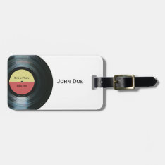 Black Vinyl Music Record Label Baggage Luggage Tag at Zazzle