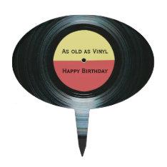 Black Vinyl Music Record Label Birthday Cake Topper at Zazzle