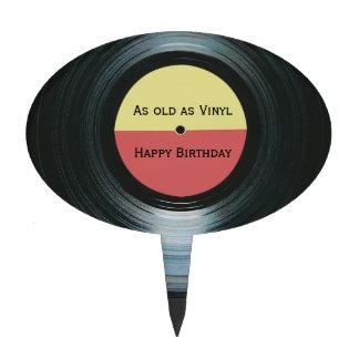 Black Vinyl Music Record Label Birthday Cake Topper