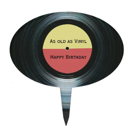 Black Vinyl Music Record Label Birthday Cake Topper