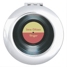 Black Vinyl Music Record Label Compact Vanity Mirror at Zazzle