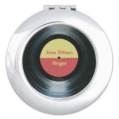 Black Vinyl Music Record Label Compact Vanity Mirror at Zazzle