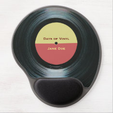 Black Vinyl Music Record Label Gel Mouse Pad at Zazzle