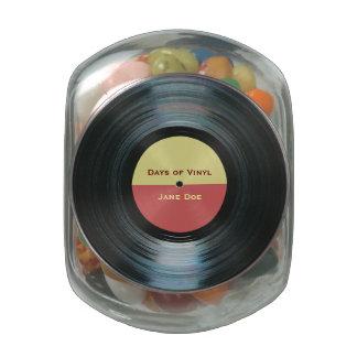Black Vinyl Music Record Label Glass Jar