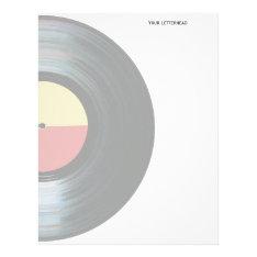 Black Vinyl Music Record Label Letterhead at Zazzle
