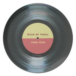 Black Vinyl Music Record Label Melamine Plate