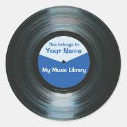 Black Vinyl Music Record Label Stickers Blue at Zazzle