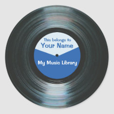 Black Vinyl Music Record Label Stickers Blue at Zazzle