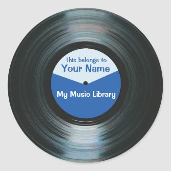 Black Vinyl Music Record Label Stickers Blue by DigitalDreambuilder at Zazzle