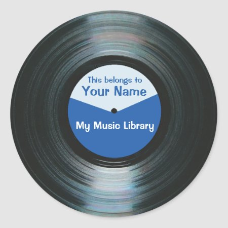 Black Vinyl Music Record Label Stickers Blue