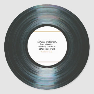 Black Vinyl Music Record Label w/ Photo Stickers