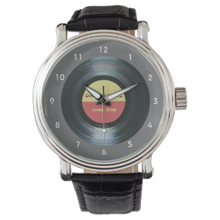 Black Vinyl Music Record Label Watch at Zazzle