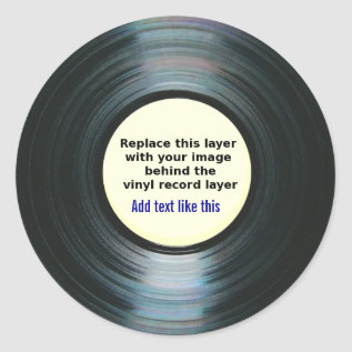 Black Vinyl Music Record Label With Your Photo at Zazzle