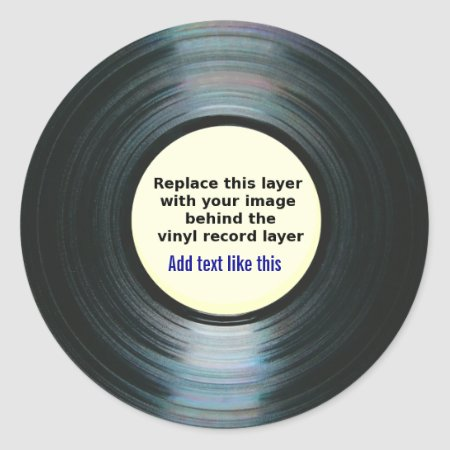 Black Vinyl Music Record Label With Your Photo