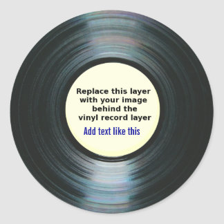 Black Vinyl Music Record Label With Your Photo Classic Round Sticker