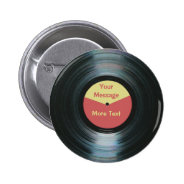 Black Vinyl Music Red and Yellow Record Label 2 Inch Round Button at Zazzle