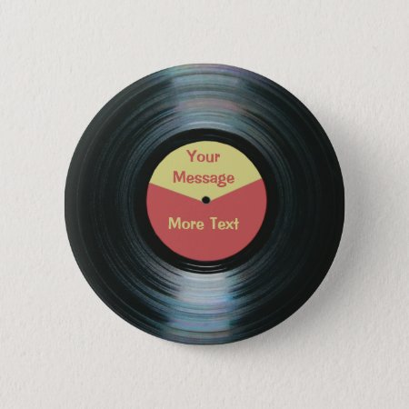 Black Vinyl Music Red And Yellow Record Label Pinback Button