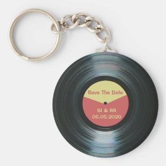 Black Vinyl Music Wedding Save The Date Keyring Basic Round Button Keychain