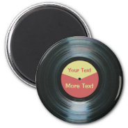 Black Vinyl Music with Red and Yellow Record Label 2 Inch Round Magnet at Zazzle