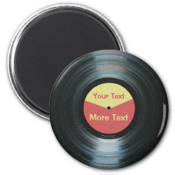 Black Vinyl Music with Red and Yellow Record Label Magnet