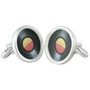 Black Vinyl Record Days Of Vinyl Personalized Cufflinks at Zazzle