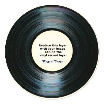 Black Vinyl Record Effect Announcement by DigitalDreambuilder at Zazzle